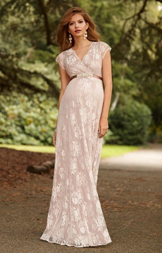 Witte zwangerschaps trouwjurk